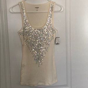 Express Sexy Basic Tank. Cream with Sequins. NWT.